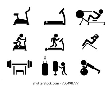 Set of Workout and Gym machines icons, vector design