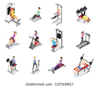 Set of workout for men and women on exercise machines. Sport equipment for fitness. Healthy and active lifestyle. Isolated vector isometric illustration