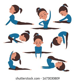 A set of workouts. The woman is engaged in fitness and yoga. Full body workout.