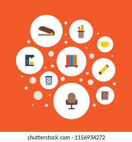 Set of workspace icons flat style symbols with bookshelf, pencil stand, wastebasket icons for your web mobile app logo design.