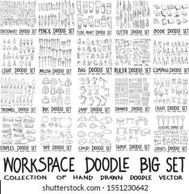 Set of Workspace Stationery Drawing illustration Hand drawn doodle Sketch line vector