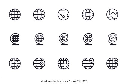Set of World, Earth, Global  vector icon illustration
