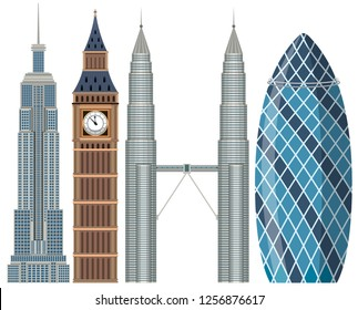 Set of world famous building illustration