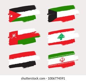 Set of World Flags in Grunge Brush Stroke : Vector Illustration