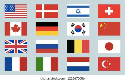 Set of world flags icons. USA, Denmark, Israel, Switzerland, Canada, Germany, South Korea, China, Great Britain, Russia, Belgium, Japan, France, Italy, Netherlands, Turkey. Vector illustration