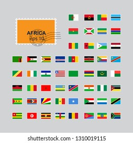 Set of world flags post stamp. Africa. 10 eps