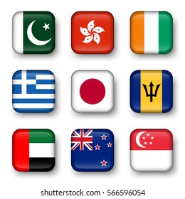Set of world flags quadrangular badges ( Pakistan . Hong kong . Ivory Coast . Greece . Japan . Barbados . UAE . New zealand . Singapore )