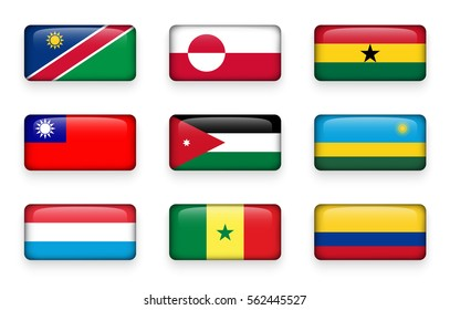Set of world flags rectangle buttons ( Namibia . Greenland . Ghana . Taiwan . Jordan . Rwanda . Luxembourg . Senegal . Colombia )