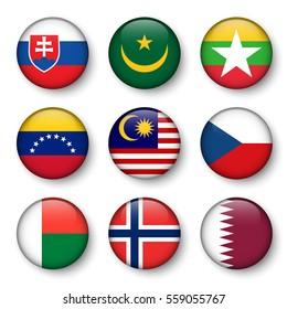 Set of world flags round badges ( Slovakia . Mauritania . Myanmar . Venezuela . Malaysia . Czech . Madagascar . Norway . Qatar )