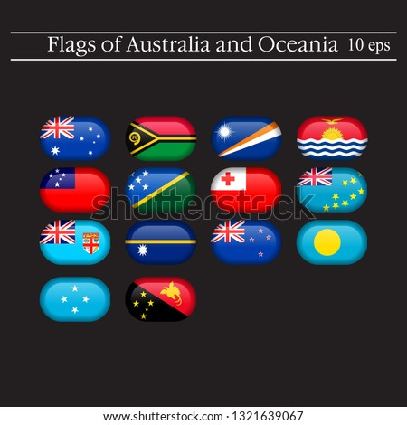 Set World Flags Round Badges Flags Stock Vector (Royalty