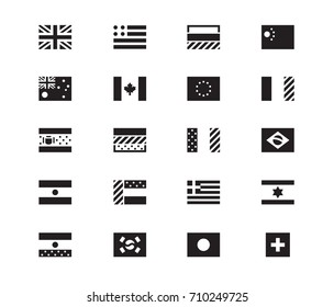 Set of World Flags vector icons on white background. USA, United Kingdom, European Union. Vector illustration.