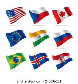 Set of world flags. Vector illustration