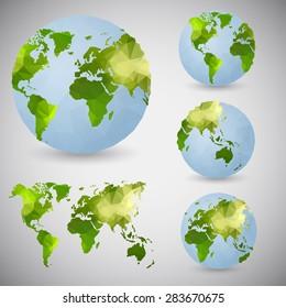 Set of the world globes. World map. Low poly vector illustration.v