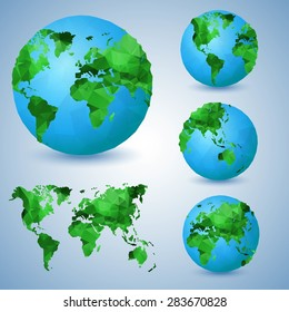 Set of the world globes. World map. Low poly vector illustration.