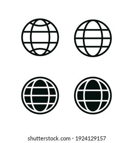 Set World Icon Globe Logo Template