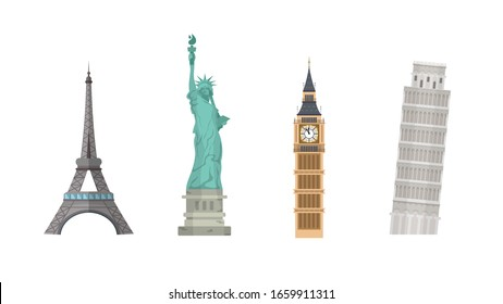 Set of world landmarks isolated on a white background. Eiffel Tower, Statue of Liberty, Leaning Tower of Pisa and Big Ben.