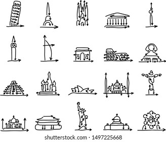 set of world landmarks signs made from arrow vector illustration sketch doodle hand drawn with black lines isolated on white background