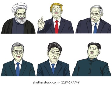 Set of World Leaders. Donald Trump, Hassan Rouhani, Benjamin Netanyahu, Moon Jae-in, Shinzo Abe, Kim Jong-un. Vector Cartoon Caricature Portrait. October 4, 2018