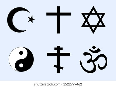 Set of world religion symbols. Vector icons of major religious groups - Islam, Christianity, Judaism, Taoism, Hinduism. Cross, Crescent moon and Star, Six pointed Star of David, Yin Yang and Om (Aum).
