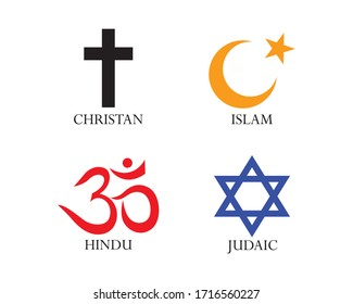 Set of World religion symbols. Vector illustration