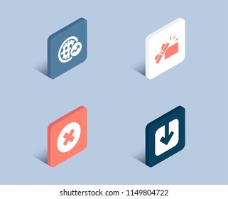 Set of World statistics, Opened gift and Close button icons. Load document sign. Global report, Present box, Delete or decline. Download arrowhead.  3d isometric buttons. Flat design concept. Vector