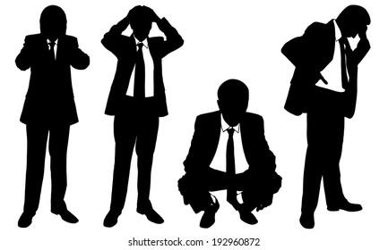 set of worried business men