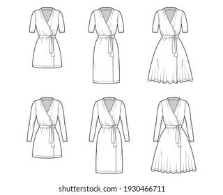 Set of Wrap dress technical fashion illustration with deep V-neck, short long sleeves, knee mini length, pencil circular cut, tie. Flat apparel template front, white color style. Women, men CAD mockup