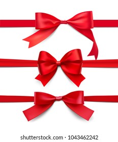 Set of wrapped red bows and ribbons on white background. Vector illustration on white background. Can be use for your design, gift, presentation. EPS10.