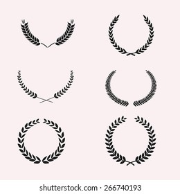 Set of Wreaths and branches. Vector illustration. Editable for your design