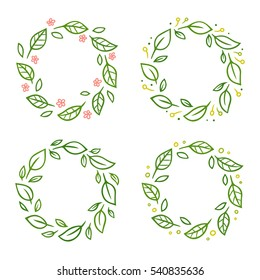 Set of wreaths with green leaves and flowers. Hand drawn vector floral ornament, design template.