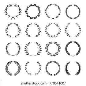 Set of wreaths isolated on white background. Laurel foliate Wreaths and circular frames for awards.Design elements for logo, label, emblem, poster, t-shirt. Vector illustration.