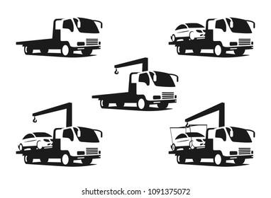 set of wrecker truck, black silhouette of wrecker truck with broken car, vector stock illustration