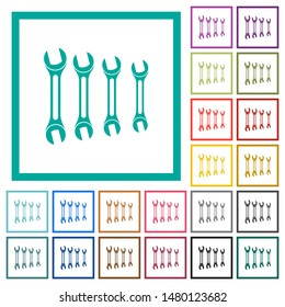 Set of wrenches flat color icons with quadrant frames on white background