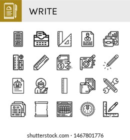 Set of write icons such as Notes, Editing, Typewriter, Rulers, Contact, Document, Ruler, Note, Pencil, Writer, Paper scroll, Crayon , write