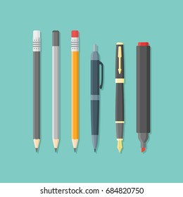 Set of writing and drawing items isolated on background. Ballpoint pen, nib, pencils and marker. Flat style vector illustration.