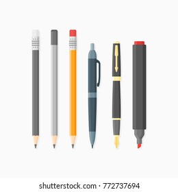 Set of writing and drawing items isolated on white background. Ballpoint pen, nib, pencils and marker. Flat style vector illustration.