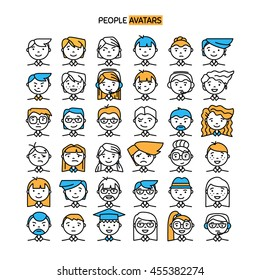 Set wth thin line icon of people stylish avatars for profile page, social network, social media, different age man and woman characters. Vector illustration