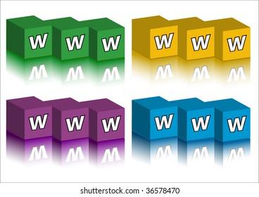 Set of WWW bricks with reflection