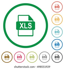 Set of XLS file format color round outlined flat icons on white background