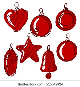Set of xmas balls and decorations, vector illustration