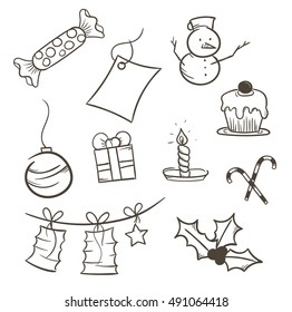 Set of X-mas hand-drawing icon - ten pictures (vector)