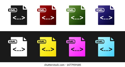 Set XML file document. Download xml button icon isolated on black and white background. XML file symbol.  Vector Illustration
