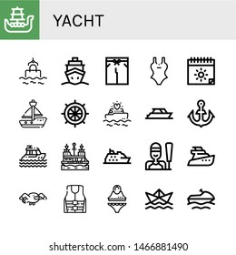 Set of yacht icons such as Battleship, Sea, Cruise, Swimsuit, Summer, Sailboat, Rudder, Yatch, Anchor, Pirate ship, Sailing, Seagull, Life jacket, Paper ship,