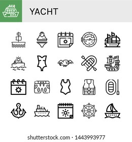Set of yacht icons such as Cruise, Galleon, Swimsuit, Summer, Boat porthole, Yatch, Seagull, Inflatable boat, Pirate ship, Life jacket, Boat, Anchor, Helm , yacht