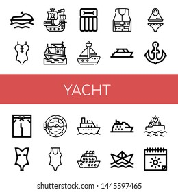 Set of yacht icons such as Jet ski, Swimsuit, Pirate ship, Boat, Airbed, Sailboat, Life jacket, Yacht, Anchor, Boat porthole, Cruise, Paper ship, Yatch, Summer , yacht