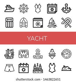 Set of yacht icons such as Yatch, Airbed, Helm, Inflatable boat, Swimsuit, Summer, Boat, Anchor, Pirate ship, Boat porthole, Cruise , yacht