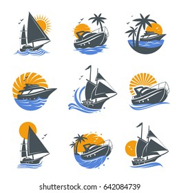 Set of yacht icons with waves and sun on a white background. The template for the logo of the yacht club or sailing. Vector illustration of sea or water transport.