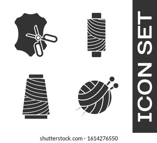 Set Yarn ball with knitting needles, Scissors and leather, Sewing thread on spool and Sewing thread on spool icon. Vector