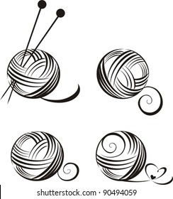 set of yarn balls with needles isolated on White background. Vector illustration