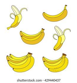 Set of Yellow Bananas. Collection of Different Overripe Bananas, Single Banana , Peeled Banana, Bunch of Bananas.